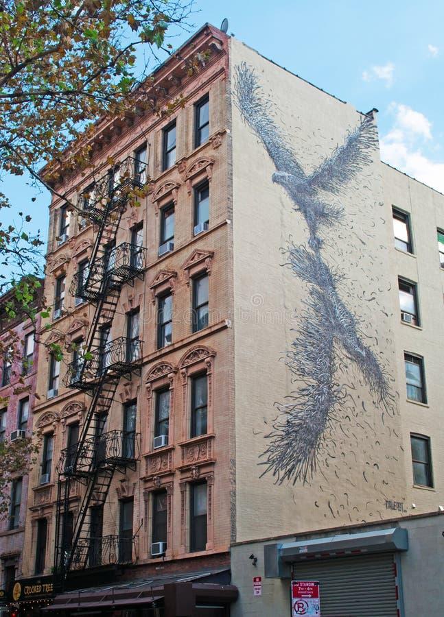 New York: De gebouwen en de muurschilderingen van Brooklyn op 16 September, 2014 stock fotografie