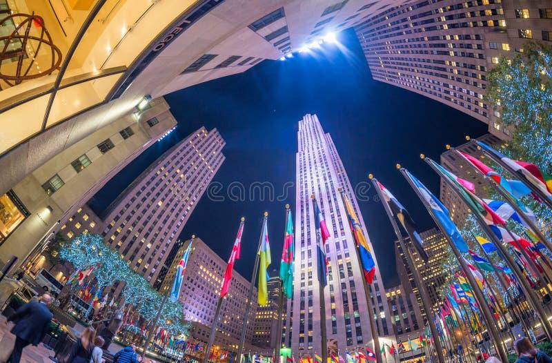 NEW YORK - 5 DE NOVEMBRO: Centro de Rockefeller o 5 de novembro de 2015 dentro fotos de stock