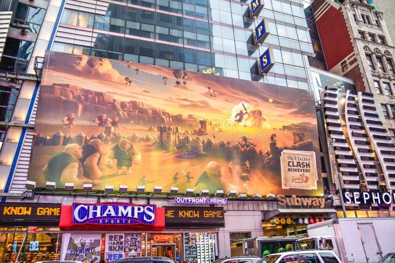 New York, de V De Times Square bouw en verkeer in de avond in Uit het stadscentrum Manhattan royalty-vrije stock fotografie