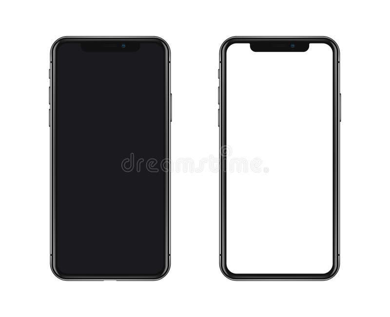New York, de V.S. - 22 Augustus, 2018: realistische nieuwe zwarte telefoon geïsoleerde smartphone van het het modelmodel van het  royalty-vrije illustratie