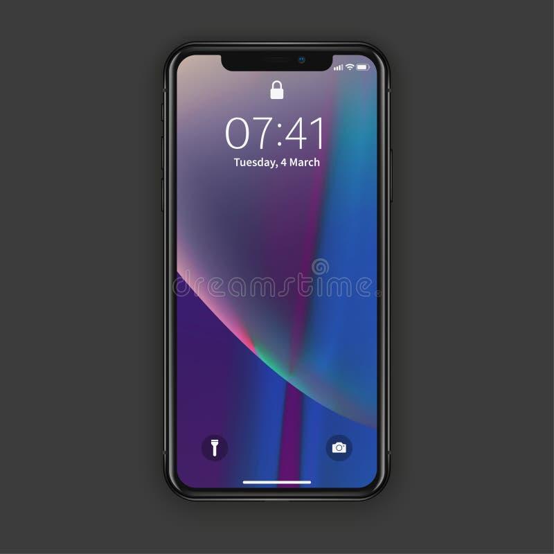 New York, de V.S. - 22 Augustus, 2018: realistische nieuwe zwarte telefoon Smartphone van het het modelmodel van het Frameless vo vector illustratie