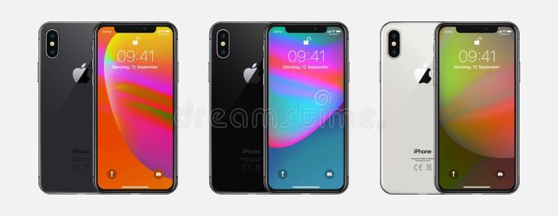 New York, de V.S. - 22 Augustus, 2018: Van de reeks nieuwe Apple van de voorraad vectorillustratie realistische iPhone X 10 Het m stock illustratie