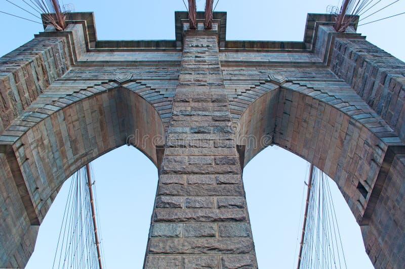 New York, de V.S.: een iconische mening van de Brug van Brooklyn op 16 September, 2014 stock fotografie