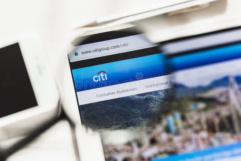 New York, de V.S. - 6 Maart 2019: Citigroup Inc Homepage van de Citi de officiële website onder vergrootglas Concept Citigroup stock afbeelding