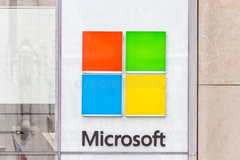NEW YORK, DE V.S. - 15 MEI, 2019: Microsoft-opslag in Manhattan Microsoft is grootste de softwaremaker van de wereld dominant in  royalty-vrije stock foto's