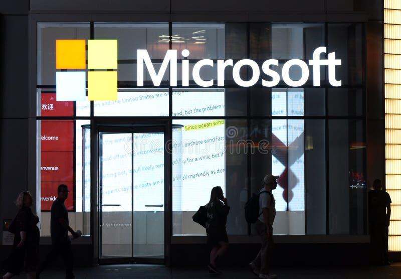 New York, de V.S. - 30 Mei, 2018: Microsoft-opslag in de Stad van New York royalty-vrije stock foto