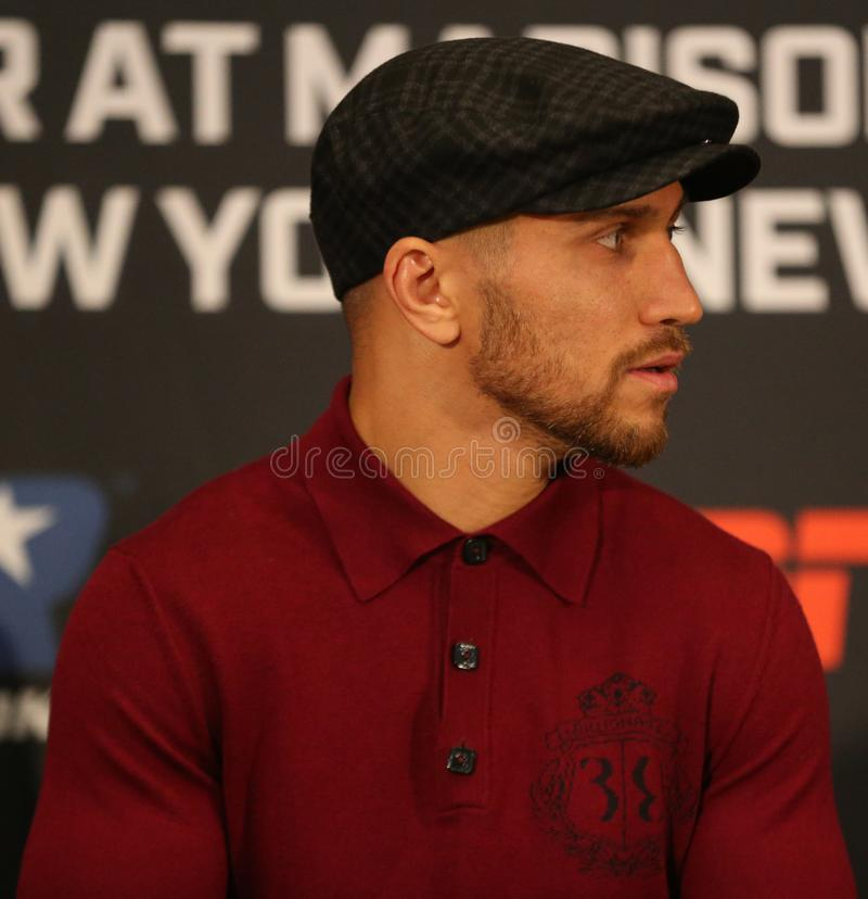 Lightweight world champion Vasiliy Lomachenko during final press conference before title unification fight against Jose Pedraza. NEW YORK - DECEMBER 6, 2018 royalty free stock photo
