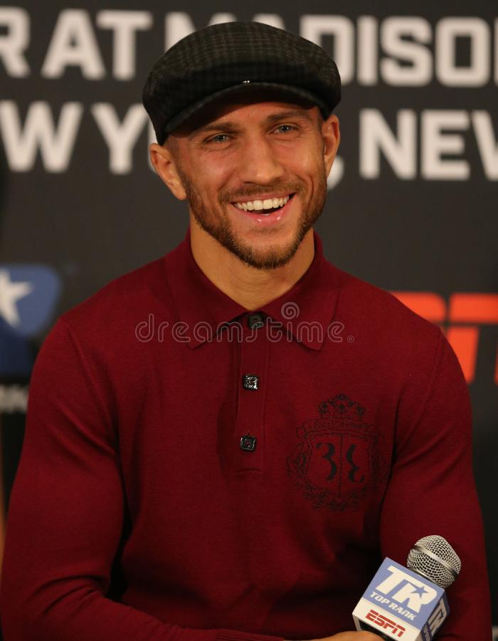 Lightweight world champion Vasiliy Lomachenko during final press conference before title unification fight against Jose Pedraza. NEW YORK - DECEMBER 6, 2018 royalty free stock image