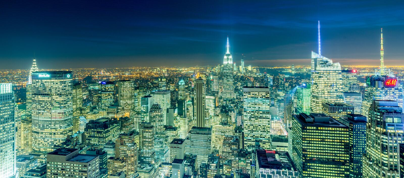 New York - DECEMBER 20, 2013: View of Lower Manhattan on Decembe stock photo