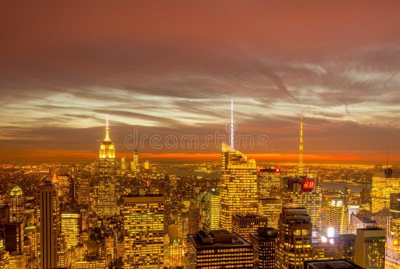 New York - DECEMBER 20, 2013: View of Lower Manhattan on Decembe stock photography