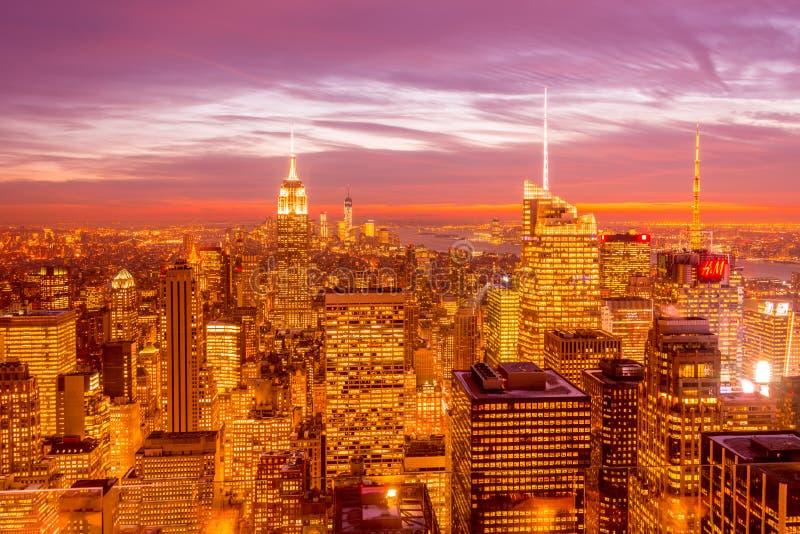 New York - DECEMBER 20, 2013: View of Lower Manhattan on Decembe royalty free stock photo