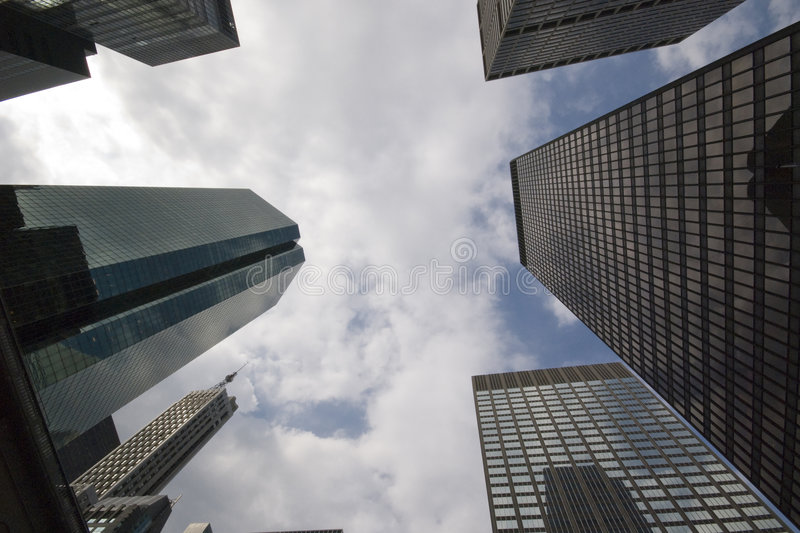 New York Downtown. View of skyscrapers from bottom up shot with an ultra wide angle - New York Downtown - New York 2007 stock image