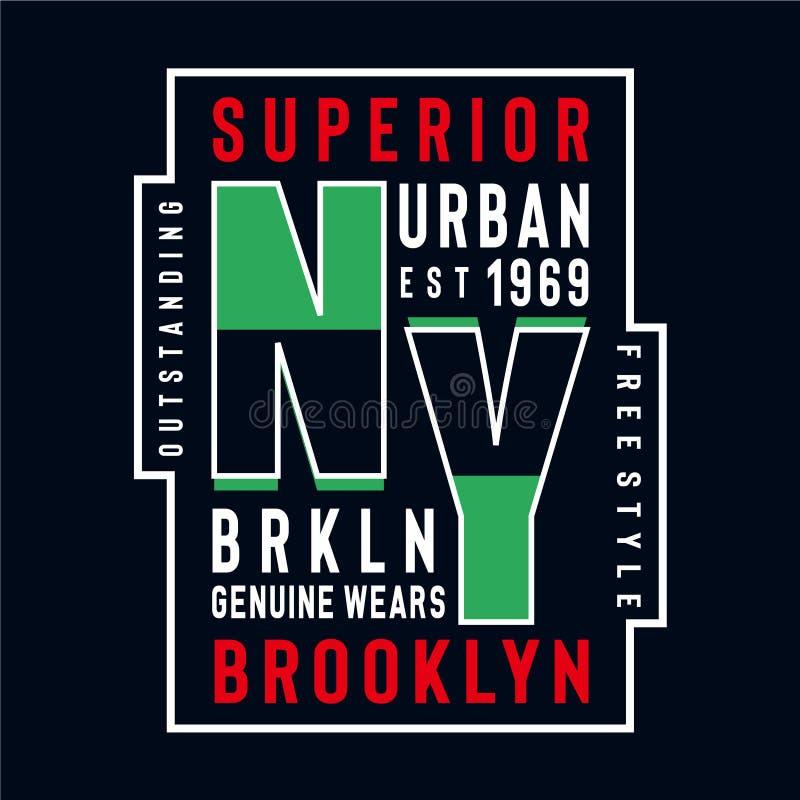 New York echtes Brooklyn trägt Typografie stock abbildung