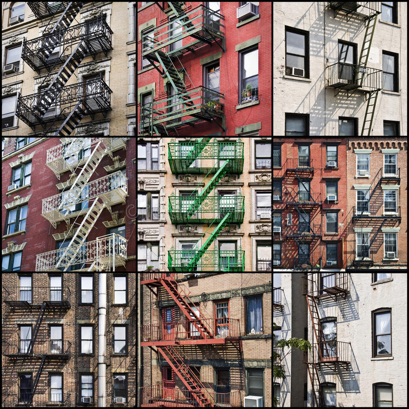 New York en dehors des escaliers de sécurité de sortie de secours photographie stock libre de droits