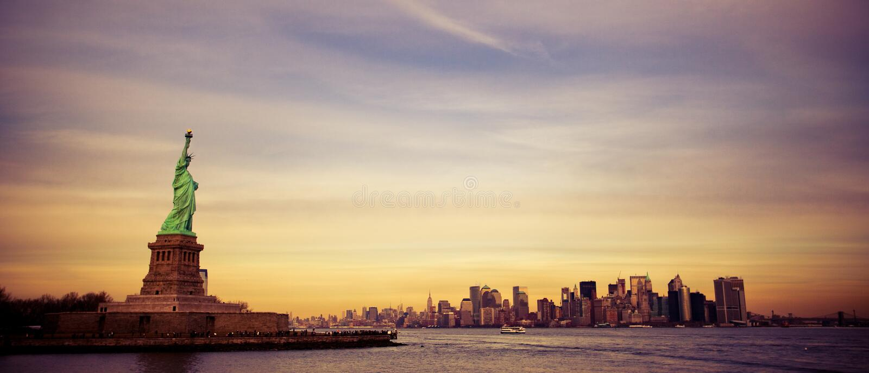 New York, estátua de liberdade, distrito financeiro imagens de stock