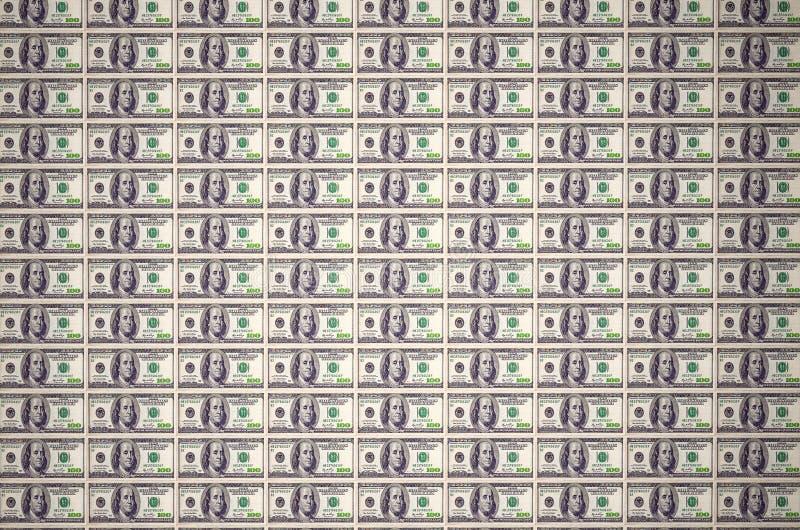 New York, Estados Unidos - 5 de julho de 2018: Uma pilha de cem cédulas dos E.U. com retratos do presidente Dinheiro de cem ilustração do vetor