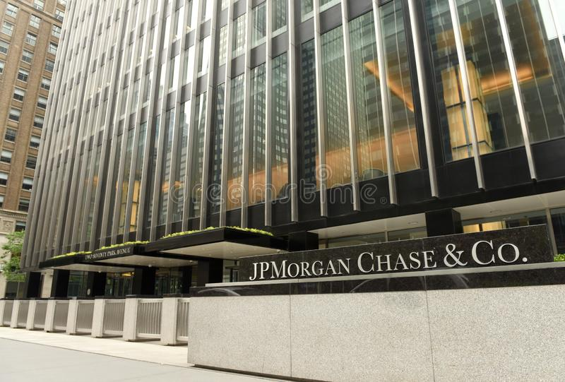 New York, Etats-Unis - 26 mai 2018 : JPMorgan bureau chassent et de Co au photo libre de droits
