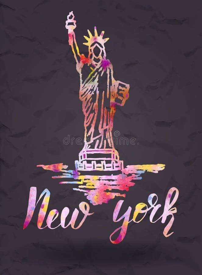 New York etikett med handen som dras statyn av frihet som märker New York med vattenfärgpåfyllningen vektor illustrationer