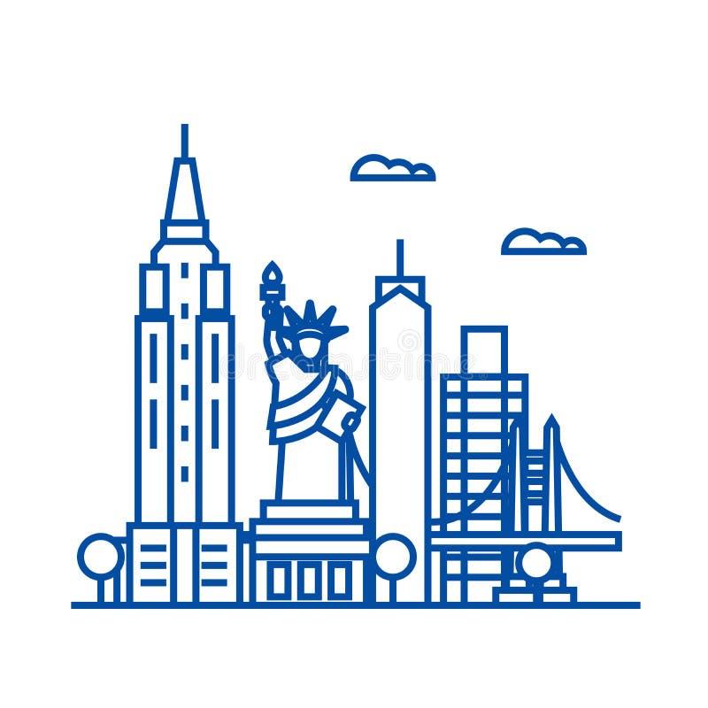 New York EUA alinha o conceito do ícone Símbolo liso do vetor de New York EUA, sinal, ilustração do esboço ilustração do vetor