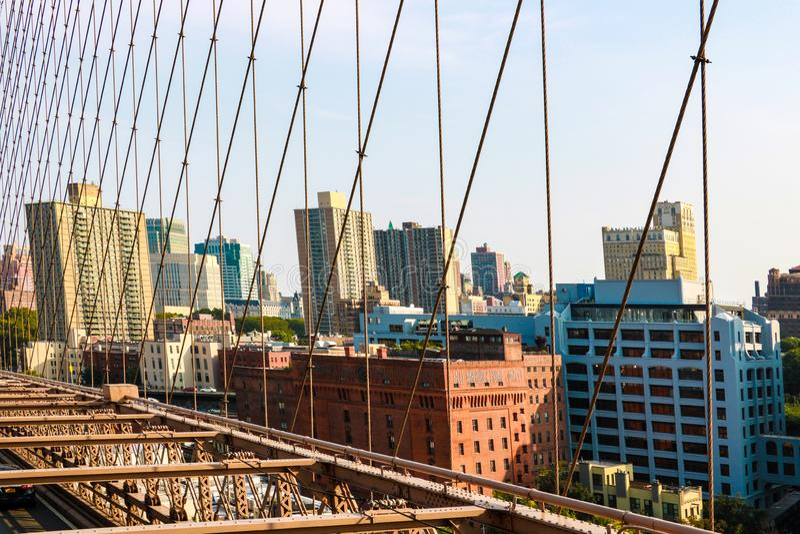 New York, EUA - 2 de setembro de 2018: Ponte de Brooklyn - Manhattan New York fotografia de stock royalty free