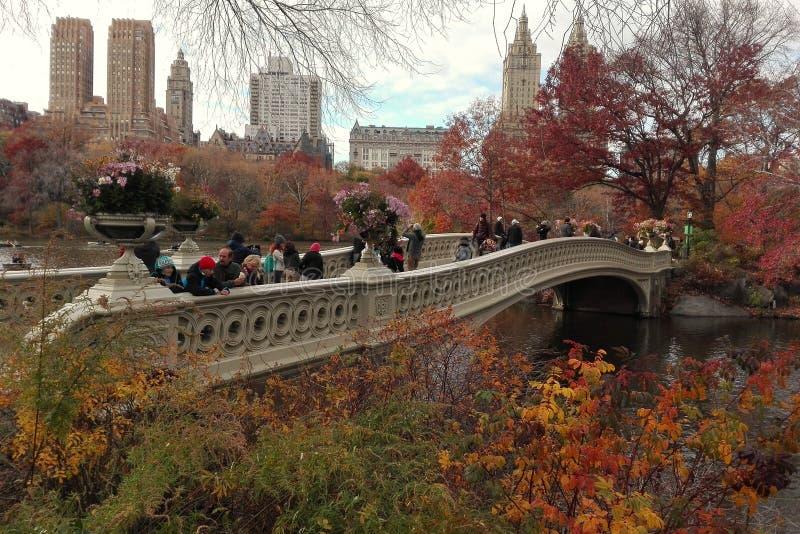 New York, EUA, o 26 de novembro de 2016: A vista da ponte da curva no dia atrasado do outono no Central Park New York fotografia de stock