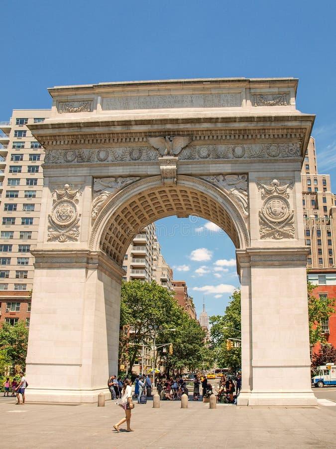 New York Förenta staterna - bågen av Washington Square parkerar arkivbilder