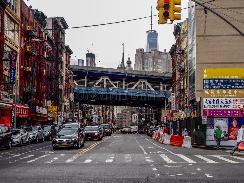 New York - Förenta staterna - gata av kineskvarteret i New York fotografering för bildbyråer