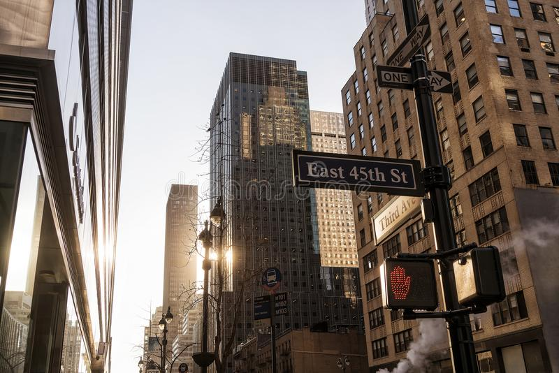 New York famous avenue with sunset light royalty free stock image