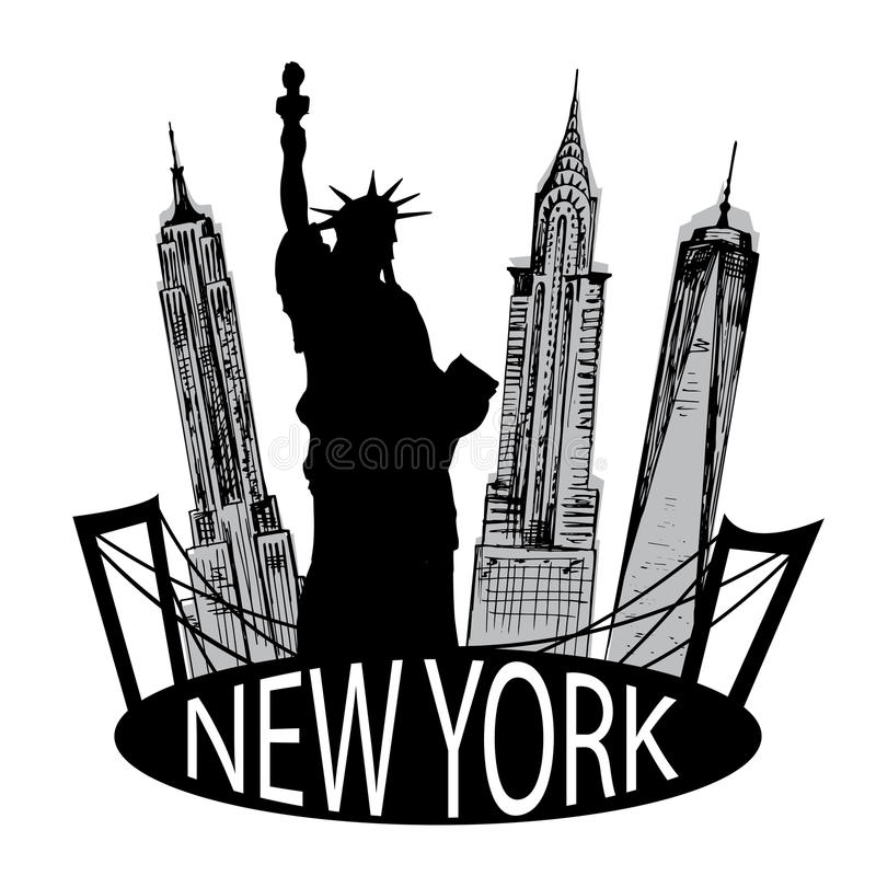 New York famous building and Liberty statue. New York famous building and silhouette of Liberty statue vector illustration