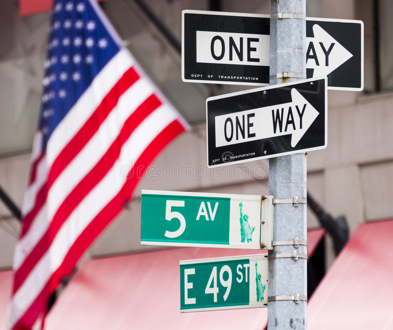 New York. Famous traffic signs of New York in the USA royalty free stock photography