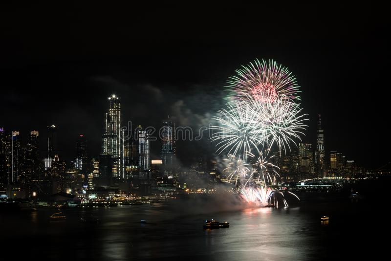 Fireworks on Hudson River, New York City royalty free stock images