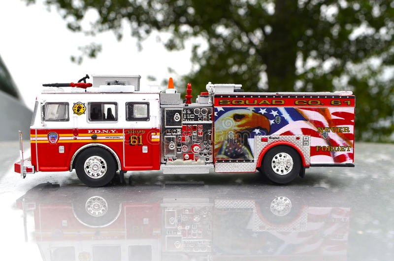 New York Fire and Rescue with Water Canon Truck Department Red Toy with details different angle stock photo