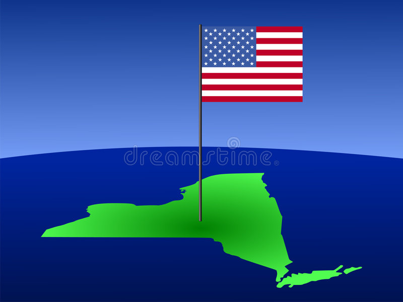 New York With Flag Stock Photography