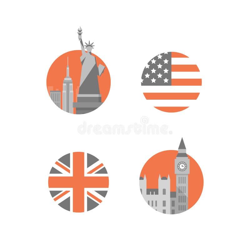 New York, Freiheitsstatue, London-, Big Ben-Turm, internationale Bildungs-, britische und amerikanischeenglische Sprache stock abbildung