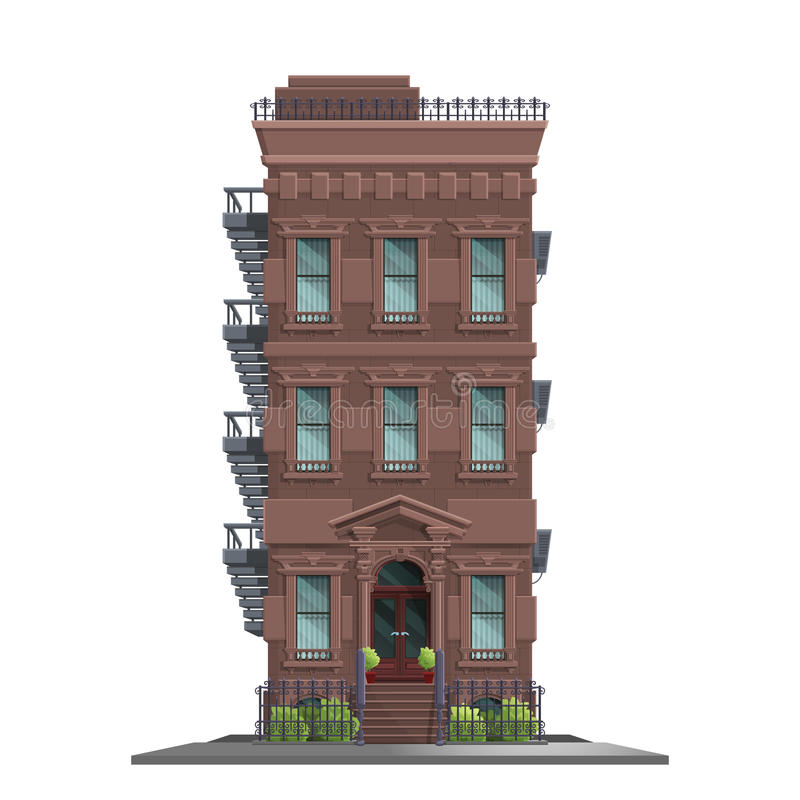 New York gammalt manhattan hus med trappa Gammal isolerade abstrakt byggnad och fasad royaltyfri illustrationer