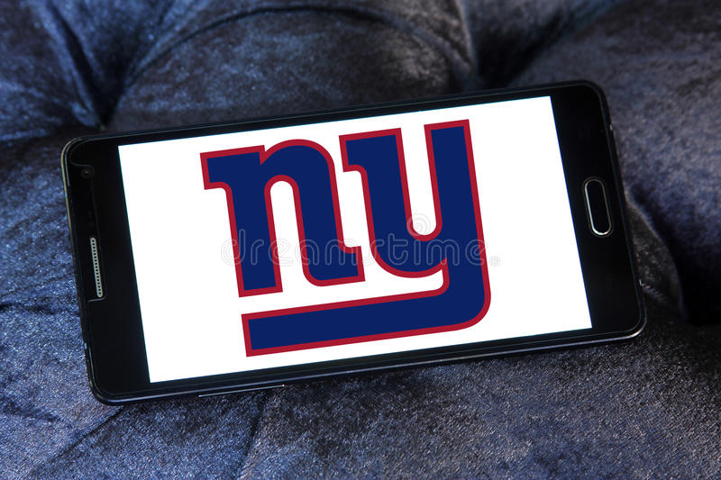 New York Giants american football team logo. Logo of New York Giants american football team on samsung mobile. The New York Giants are a professional American stock photo