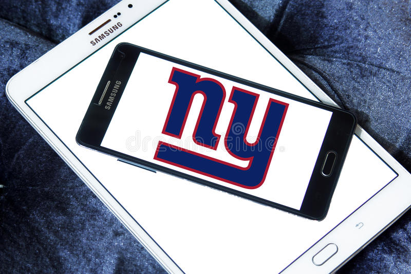New York Giants american football team logo. Logo of New York Giants american football team on samsung mobile. The New York Giants are a professional American royalty free stock image