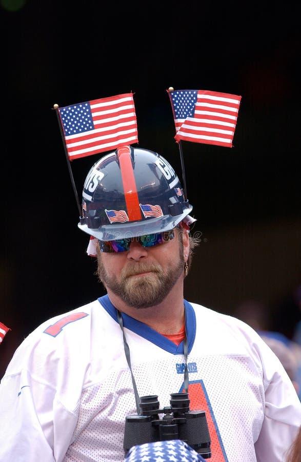New York Giantsfan efter 9/11/2001 arkivbilder