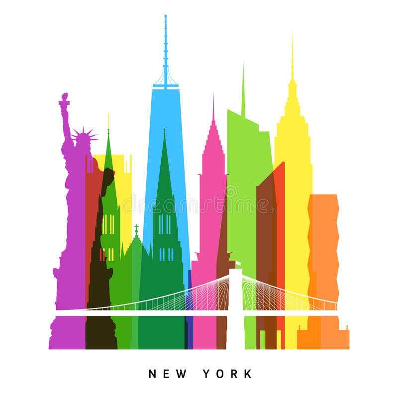 New York gränsmärken vektor illustrationer
