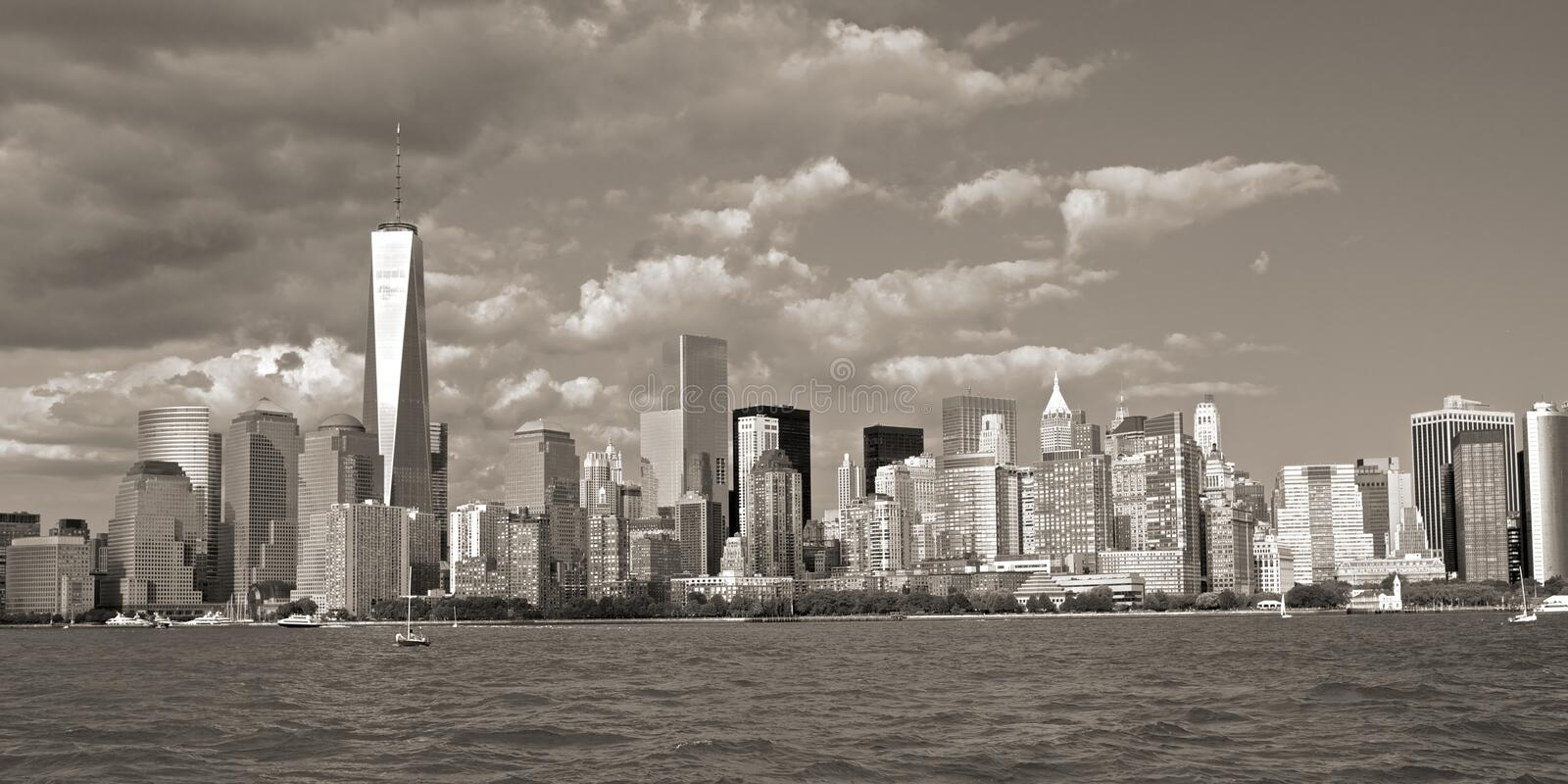 New York the great from the water taxi royalty free stock photo