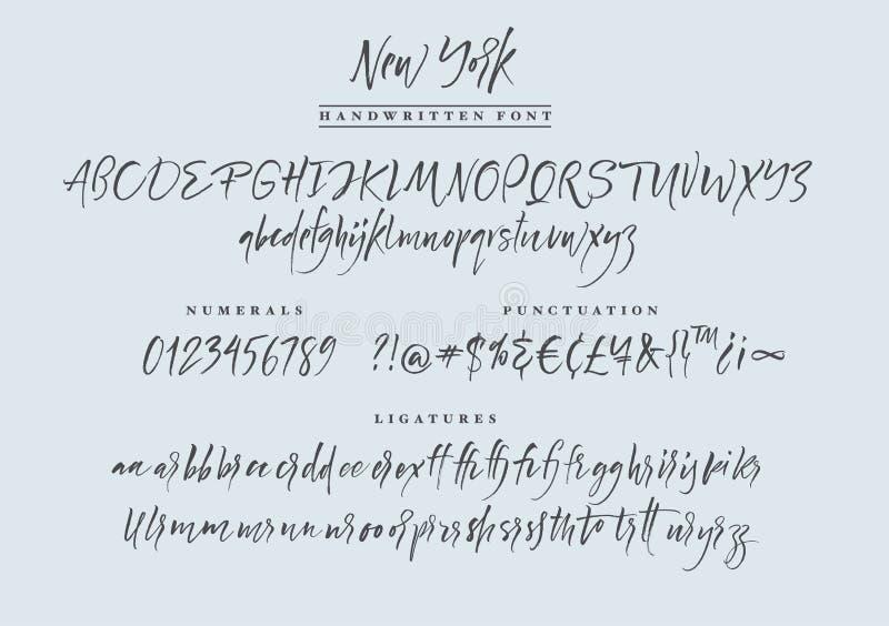 New York handwritten font. Script. stock illustration
