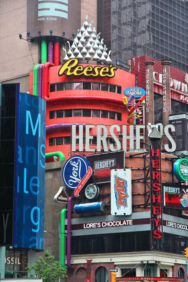 New York Hershey's. NEW YORK, USA - JUNE 10, 2013: Hershey's ad at Times Square in New York. Hershey Company is a chocolate manufacturer founded in 1894. It royalty free stock images