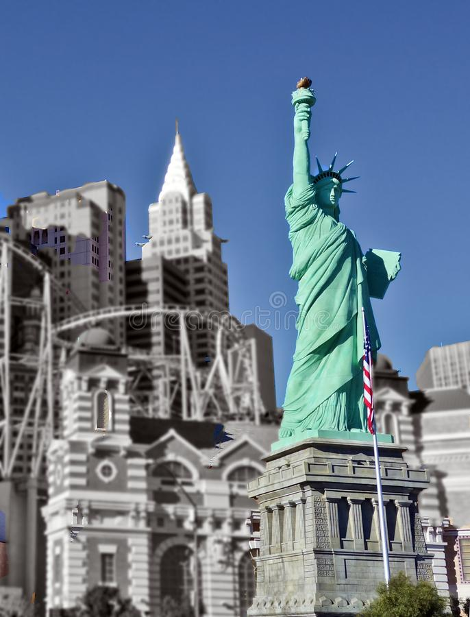 New York, New York Hotel and Casino`s Statue of Liberty Close-up. Statue of Liberty at New York, New York Casino colorized stock image