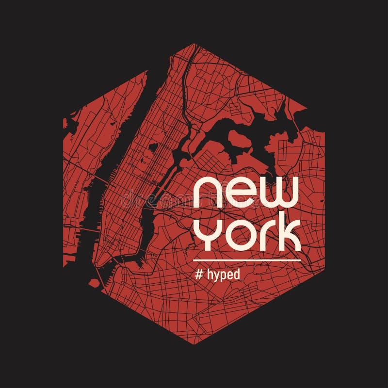 New York hyped t-skjortan och dräktvektordesignen, trycket, typogra royaltyfri illustrationer