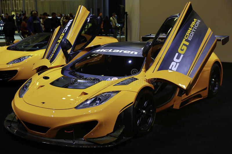 McLaren 12C CAN-AM EDITION showcased at the New York Auto Show. The New York International Auto Show is an annual auto show held in New York City in late March stock photo