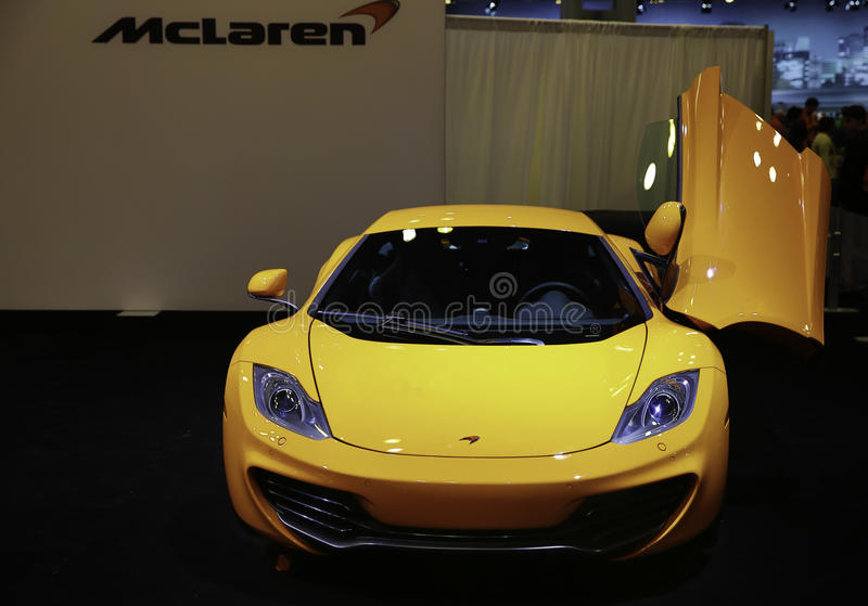 McLaren 12C CAN-AM EDITION showcased at the New York Auto Show. The New York International Auto Show is an annual auto show held in New York City in late March stock photos