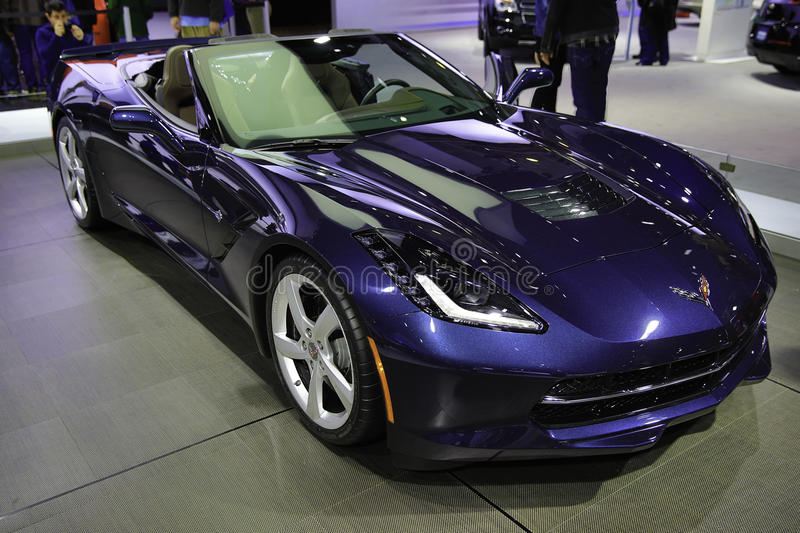 Corvette Stingray showcased at the New York Auto Show. The New York International Auto Show is an annual auto show held in New York City in late March or early stock photos