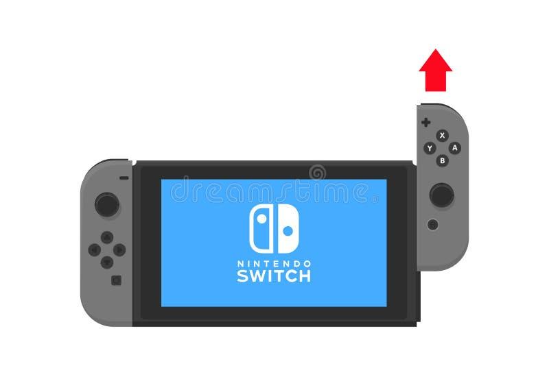 New York - 13 JANUARI Nintendo strömbrytareillustration Isolerad vektor för videospelpekskärm konsol stock illustrationer