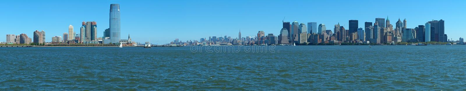 New york and jersey panorama. New York's Manhattan and Jersey City panorama photo, water in foreground royalty free stock photo