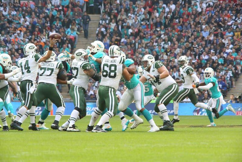 New York Jets International Series game versus the Miami Dolphins at Wembley Stadium. October 4, 2015: during the New York Jets International Series game versus stock photo